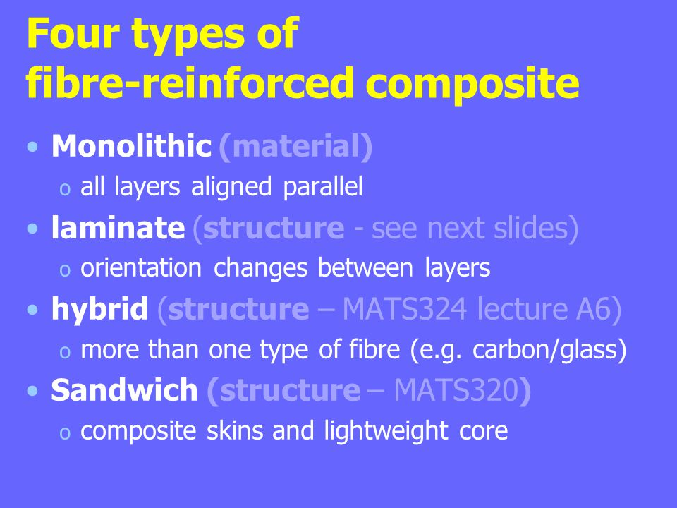 Four types of fibre-reinforced composite Monolithic (material) o all layers aligned parallel laminate (structure - see next slides) o orientation changes between layers hybrid (structure – MATS324 lecture A6) o more than one type of fibre (e.g.