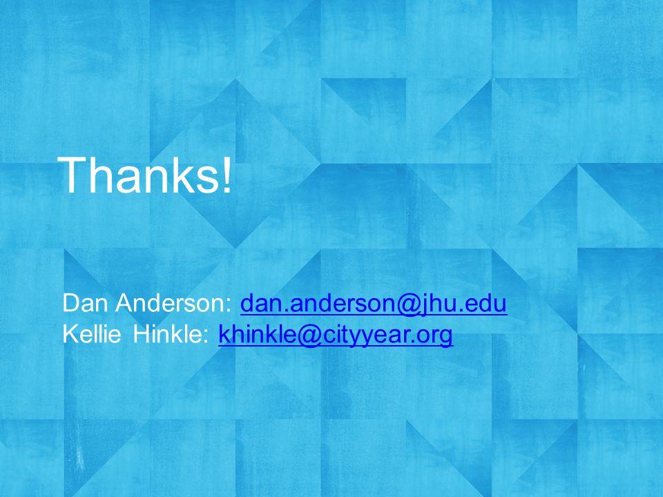 Thanks! Dan Anderson: dan.anderson@jhu.edudan.anderson@jhu.edu Kellie Hinkle: khinkle@cityyear.orgkhinkle@cityyear.org