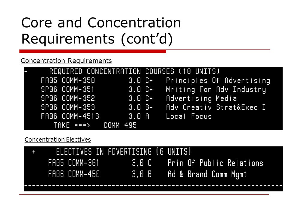 Core and Concentration Requirements (cont'd) Concentration Requirements Concentration Electives