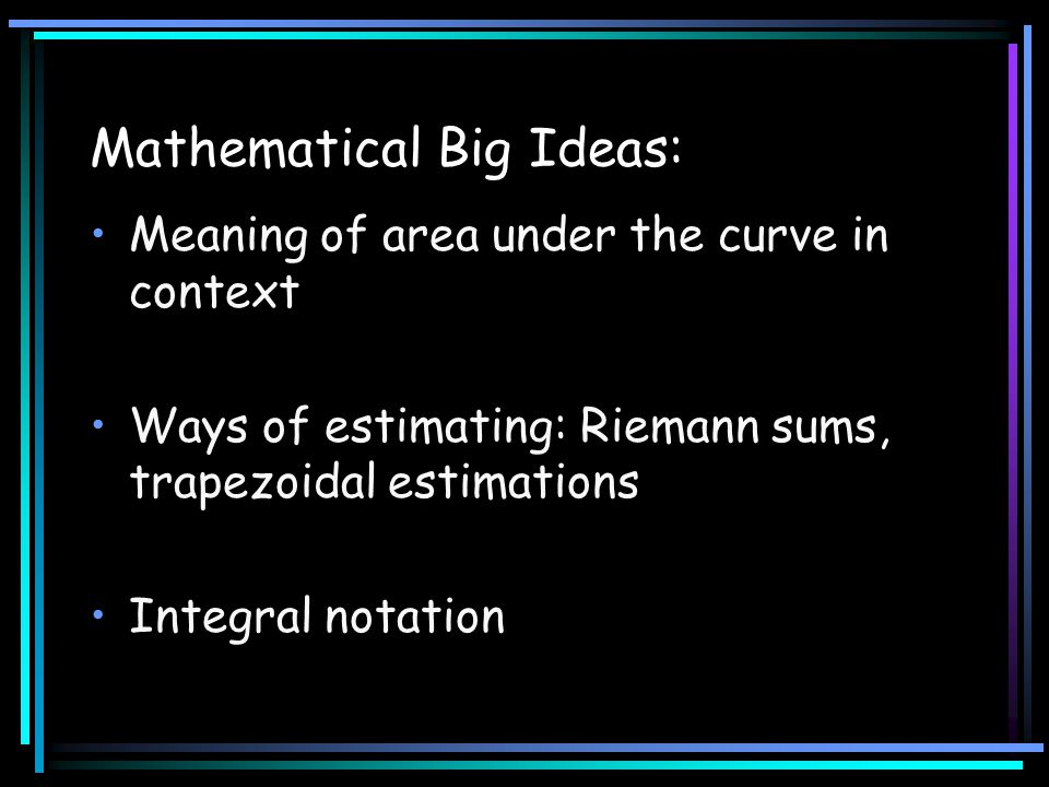 Mathematical Big Ideas: Meaning of area under the curve in context Ways of estimating: Riemann sums, trapezoidal estimations Integral notation