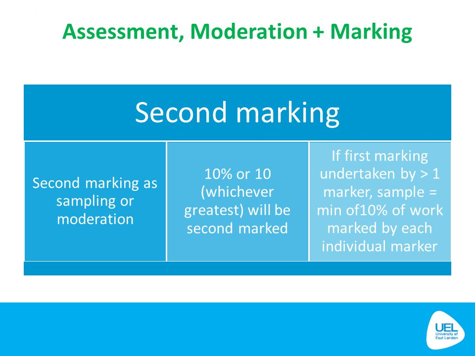 Assessment, Moderation + Marking Second marking Second marking as sampling or moderation 10% or 10 (whichever greatest) will be second marked If first