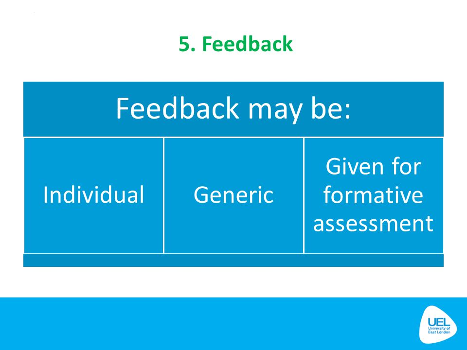 5. Feedback Feedback may be: IndividualGeneric Given for formative assessment