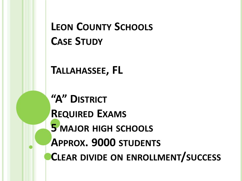 L EON C OUNTY S CHOOLS C ASE S TUDY T ALLAHASSEE, FL A D ISTRICT R EQUIRED E XAMS 5 MAJOR HIGH SCHOOLS A PPROX.