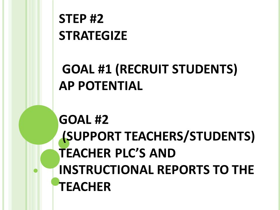 STEP #2 STRATEGIZE GOAL #1 (RECRUIT STUDENTS) AP POTENTIAL GOAL #2 (SUPPORT TEACHERS/STUDENTS) TEACHER PLC'S AND INSTRUCTIONAL REPORTS TO THE TEACHER