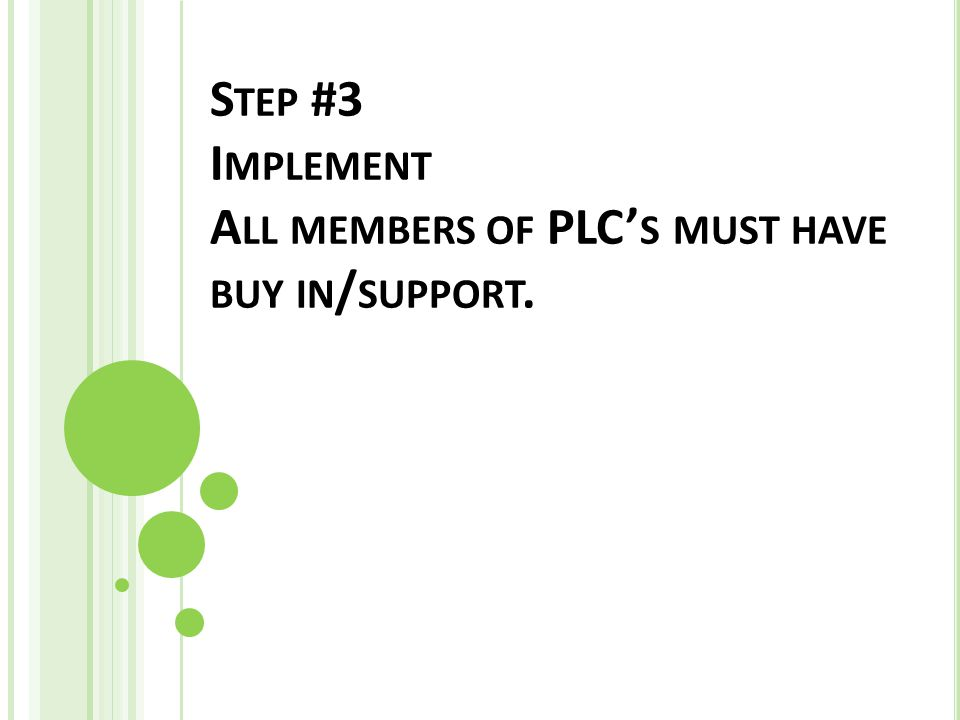 S TEP #3 I MPLEMENT A LL MEMBERS OF PLC' S MUST HAVE BUY IN / SUPPORT.