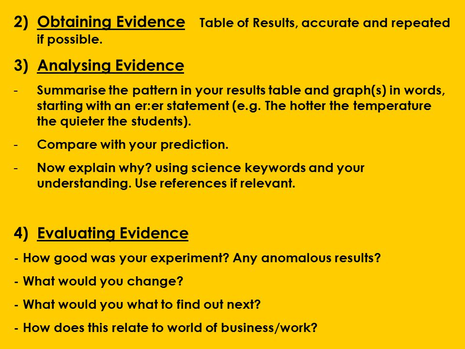 2)Obtaining Evidence Table of Results, accurate and repeated if possible.