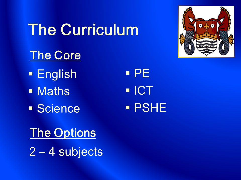 The Curriculum  English  Maths  Science  PE  ICT  PSHE The Options The Core 2 – 4 subjects