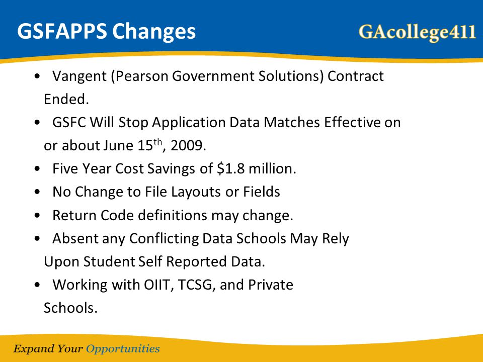 GSFAPPS Changes Vangent (Pearson Government Solutions) Contract Ended. GSFC Will Stop Application Data Matches Effective on or about June 15 th, 2009.