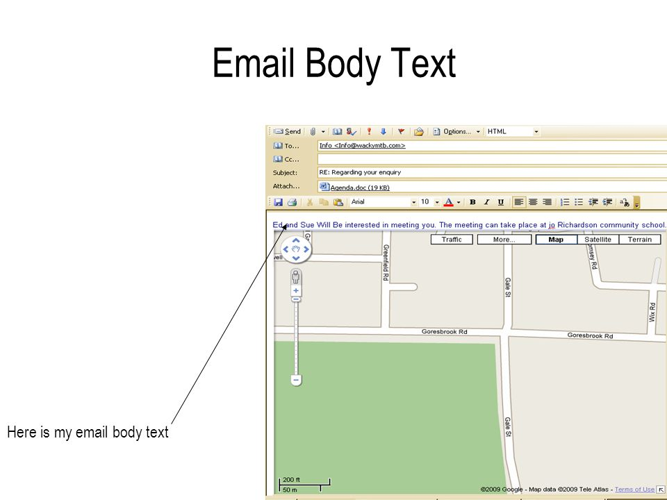 Email Body Text Here is my email body text