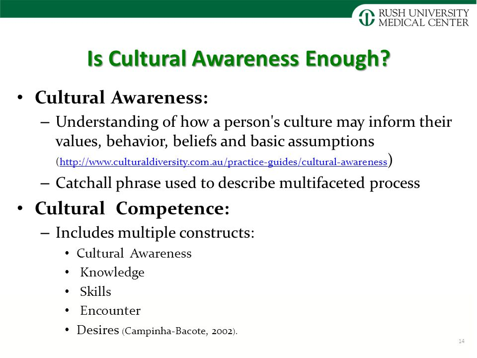 Is Cultural Awareness Enough? Cultural Awareness: – Understanding of how a person's culture may inform their values, behavior, beliefs and basic assum