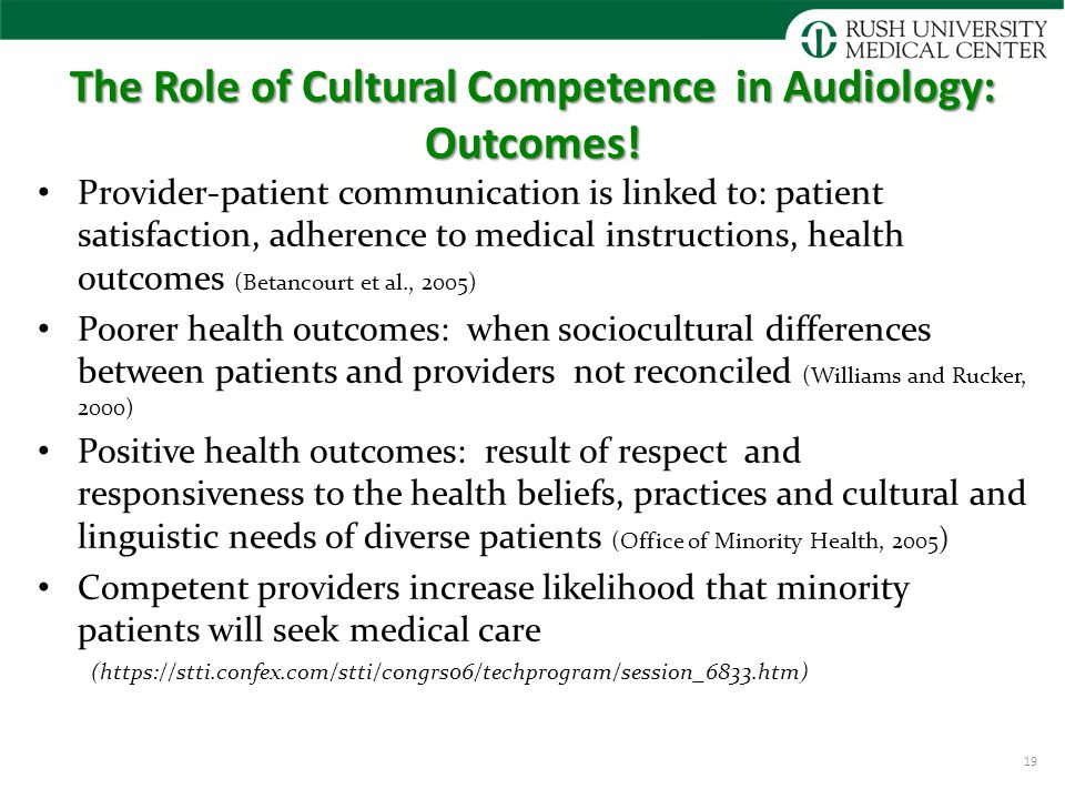 The Role of Cultural Competence in Audiology: Outcomes.
