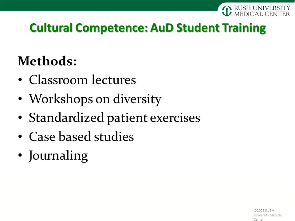 Cultural Competence: AuD Student Training Methods: Classroom lectures Workshops on diversity Standardized patient exercises Case based studies Journaling ©2003 RUSH University Medical Center