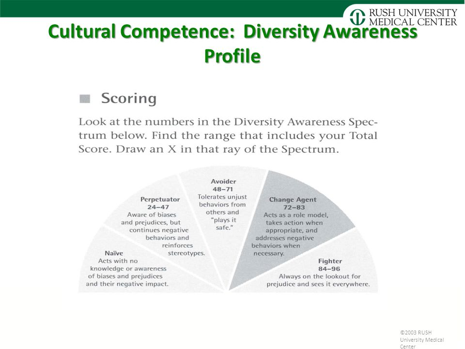Cultural Competence: Diversity Awareness Profile ©2003 RUSH University Medical Center