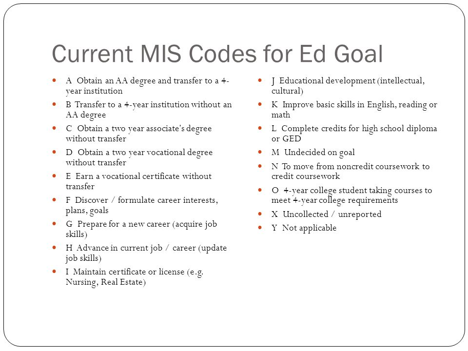 Current MIS Codes for Ed Goal A Obtain an AA degree and transfer to a 4- year institution B Transfer to a 4-year institution without an AA degree C Obtain a two year associate s degree without transfer D Obtain a two year vocational degree without transfer E Earn a vocational certificate without transfer F Discover / formulate career interests, plans, goals G Prepare for a new career (acquire job skills) H Advance in current job / career (update job skills) I Maintain certificate or license (e.g.