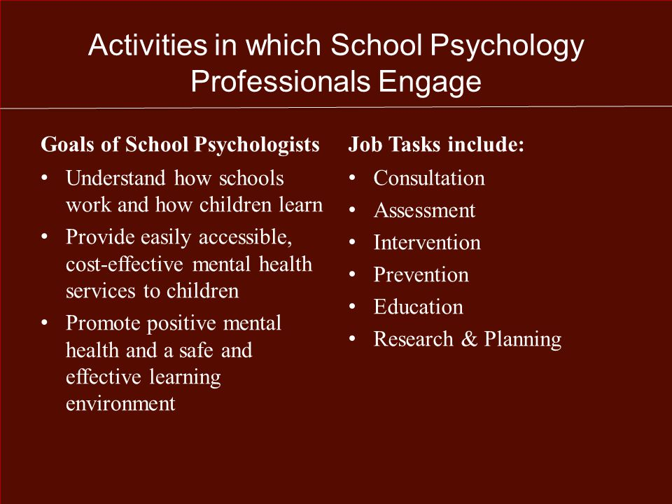 Most Rewarding Aspect of being a School Psychology Professional Practical Benefits Job Flexibility Work Environment Compensation Short Work Year (190 days) Opportunities for Advancement Low Burn-Out Low Unemployment Intangible Benefits Independence Changing Children's Lives Meaningful Work Collaborative Effort Open-minded Colleagues Data-Based Decisions Clear Goals and Aspirations Respect from Others