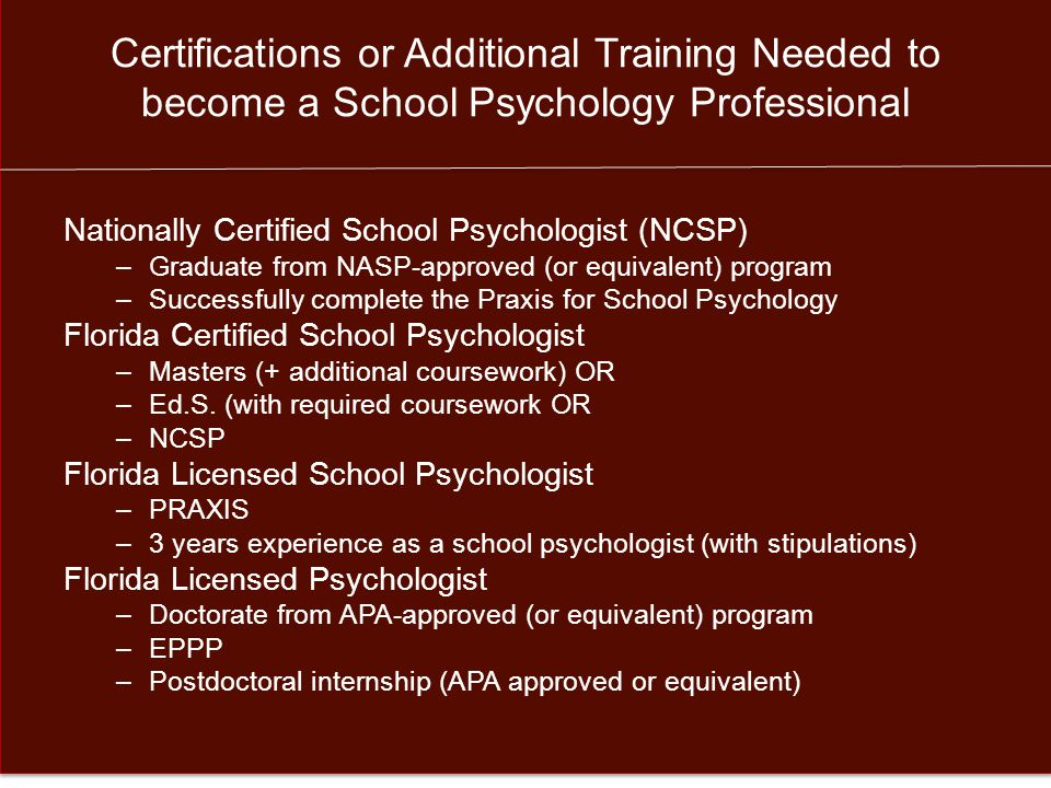 Employment Opportunities for School Psychology Professionals Bureau of Labor Statistics: – Psychologists jobs up 12% from 2012 to 2022.