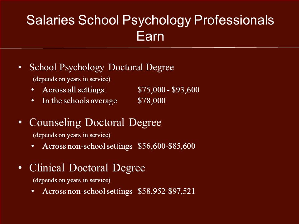 Salaries School Psychology Professionals Earn School Psychology Doctoral Degree (depends on years in service) Across all settings: $75,000 - $93,600 In the schools average$78,000 Counseling Doctoral Degree (depends on years in service) Across non-school settings $56,600-$85,600 Clinical Doctoral Degree (depends on years in service) Across non-school settings $58,952-$97,521