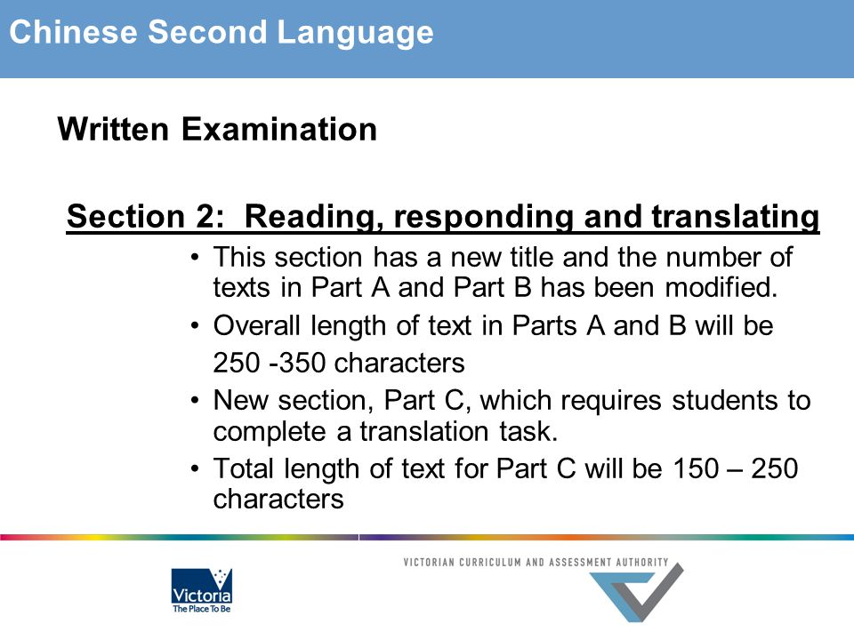 Written Examination Section 2: Reading, responding and translating This section has a new title and the number of texts in Part A and Part B has been