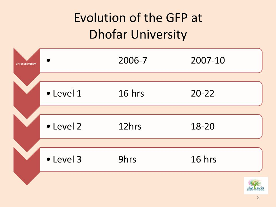Evolution of the GFP at Dhofar University 3 tiered system 2006-72007-10Level 116 hrs20-22Level 212hrs18-20 Level 39hrs 16 hrs 3