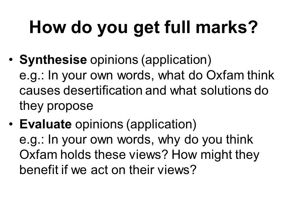 How do you get full marks.