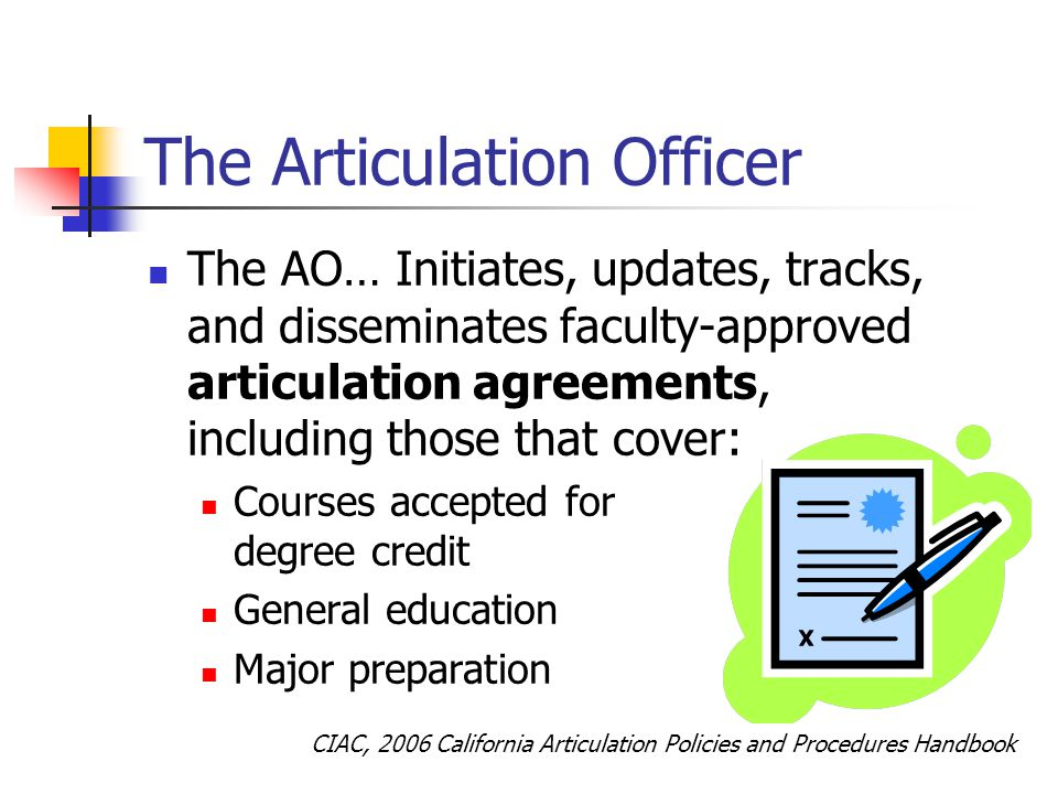 The Articulation Officer The AO… Initiates, updates, tracks, and disseminates faculty-approved articulation agreements, including those that cover: Courses accepted for degree credit General education Major preparation CIAC, 2006 California Articulation Policies and Procedures Handbook