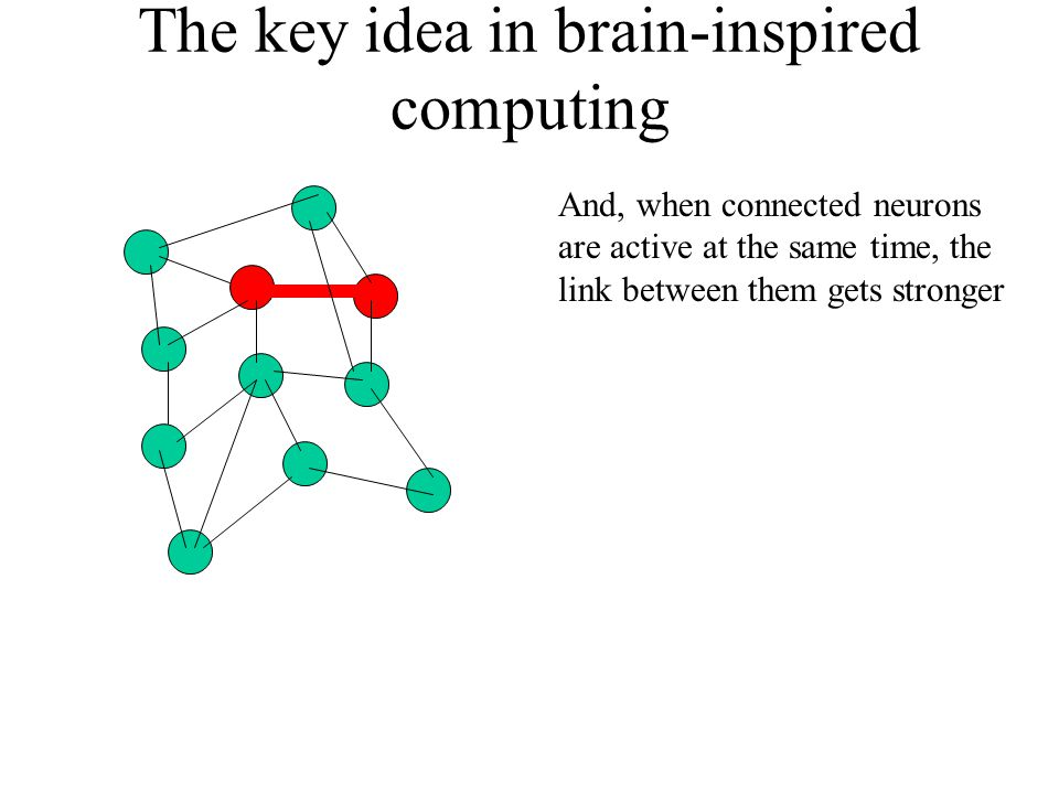 The key idea in brain-inspired computing And, when connected neurons are active at the same time, the link between them gets stronger