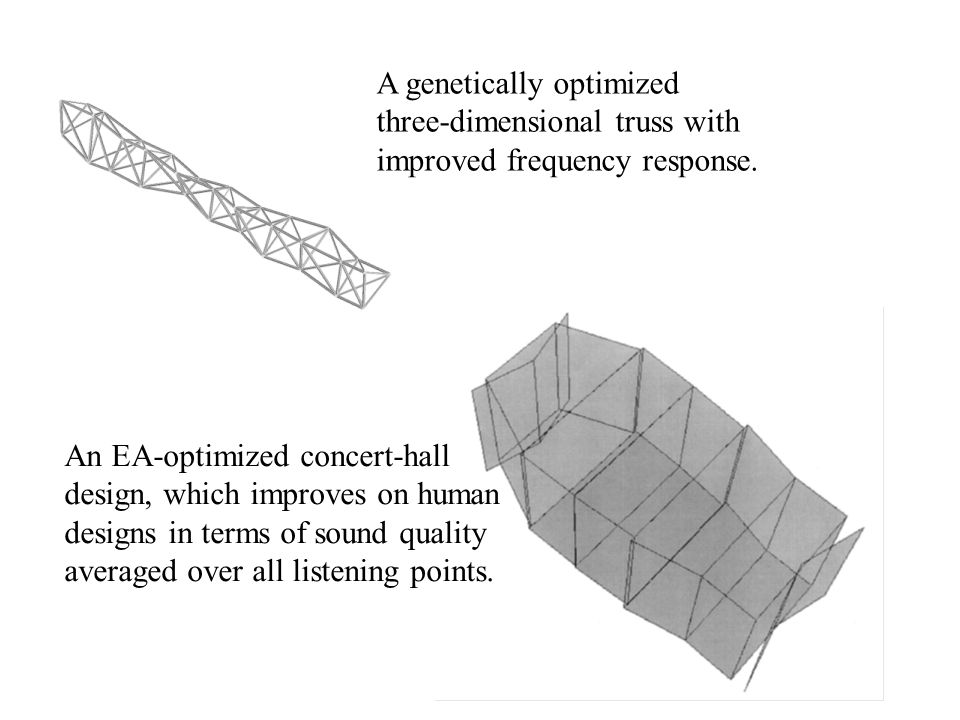 A genetically optimized three-dimensional truss with improved frequency response.