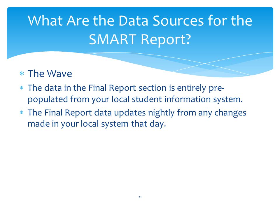  The Wave  The data in the Final Report section is entirely pre- populated from your local student information system.