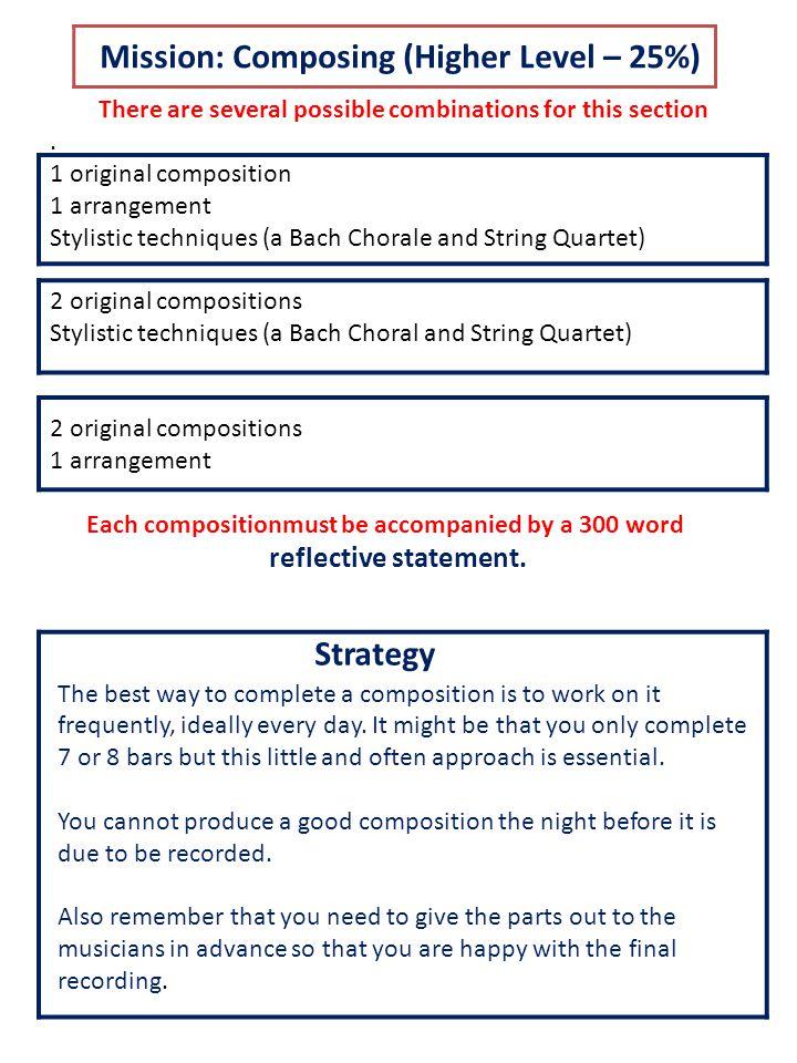 Composing: Assessment Criteria (Max 30 marks )