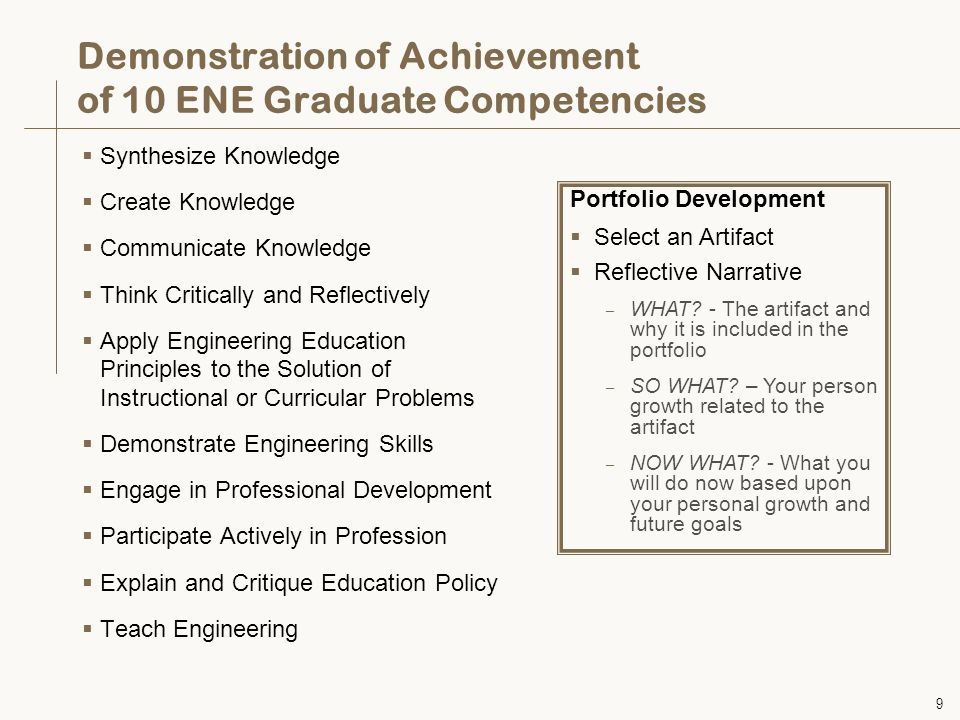 9 Demonstration of Achievement of 10 ENE Graduate Competencies  Synthesize Knowledge  Create Knowledge  Communicate Knowledge  Think Critically and Reflectively  Apply Engineering Education Principles to the Solution of Instructional or Curricular Problems  Demonstrate Engineering Skills  Engage in Professional Development  Participate Actively in Profession  Explain and Critique Education Policy  Teach Engineering Portfolio Development  Select an Artifact  Reflective Narrative – WHAT.