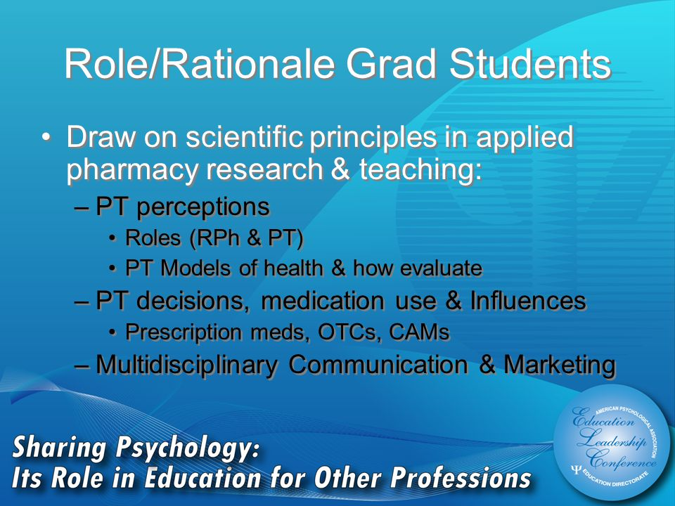 Role/Rationale Grad Students Draw on scientific principles in applied pharmacy research & teaching: –PT perceptions Roles (RPh & PT) PT Models of health & how evaluate –PT decisions, medication use & Influences Prescription meds, OTCs, CAMs –Multidisciplinary Communication & Marketing Draw on scientific principles in applied pharmacy research & teaching: –PT perceptions Roles (RPh & PT) PT Models of health & how evaluate –PT decisions, medication use & Influences Prescription meds, OTCs, CAMs –Multidisciplinary Communication & Marketing