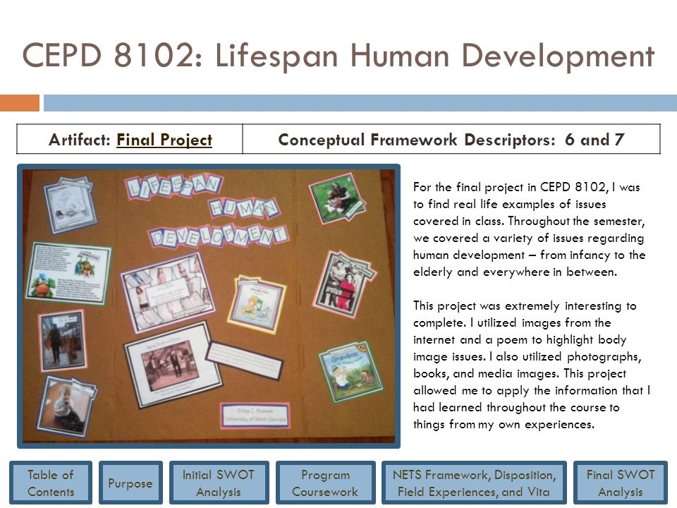 CEPD 8102: Lifespan Human Development Artifact: Final ProjectFinal ProjectConceptual Framework Descriptors: 6 and 7 For the final project in CEPD 8102