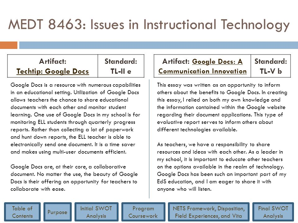 MEDT 8463: Issues in Instructional Technology Artifact: Techtip: Google Docs Techtip: Google Docs Standard: TL-II e Artifact: Google Docs: A Communica