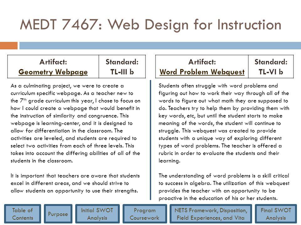 MEDT 7467: Web Design for Instruction Artifact: Geometry Webpage Standard: TL-III b Artifact: Word Problem Webquest Standard: TL-VI b As a culminating