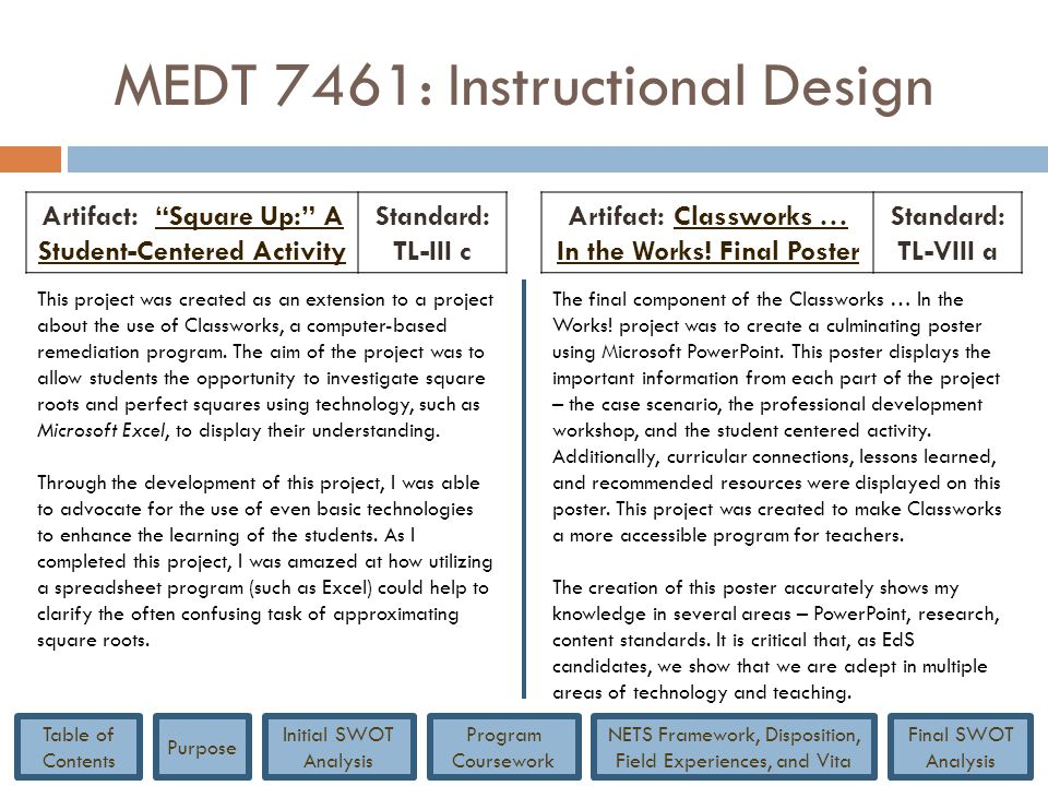 """MEDT 7461: Instructional Design Artifact: """"Square Up:"""" A Student-Centered Activity""""Square Up:"""" A Student-Centered Activity Standard: TL-III c Artifact"""