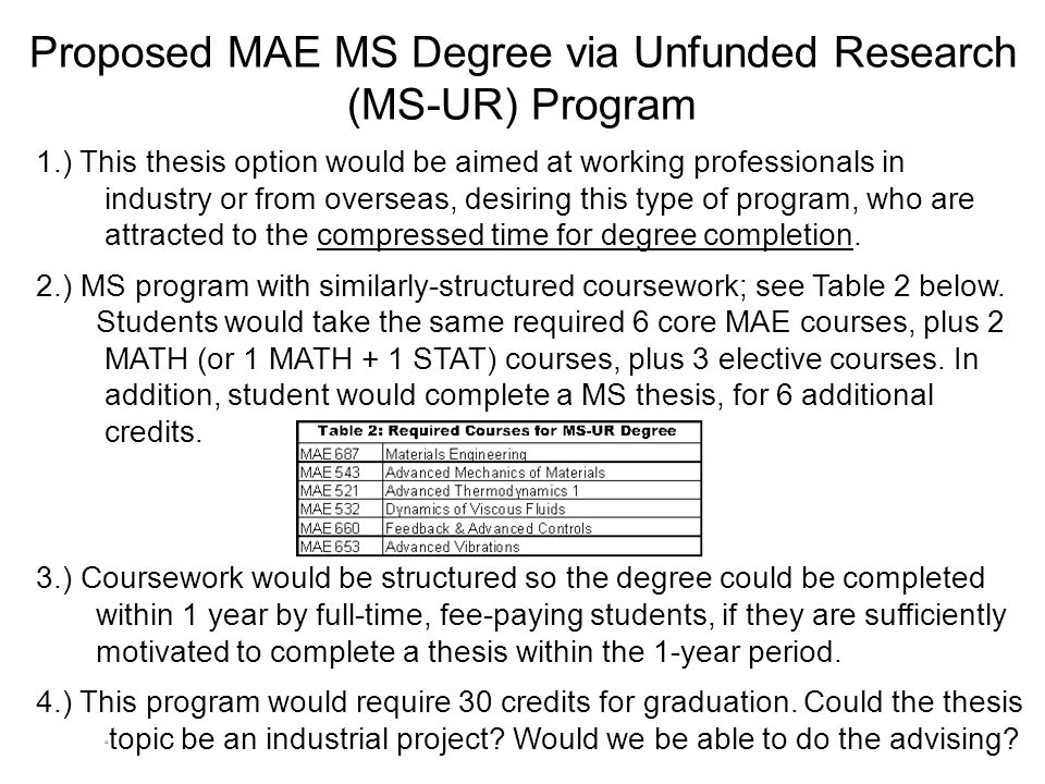 Proposed MAE MS Degree via Unfunded Research (MS-UR) Program 1.) This thesis option would be aimed at working professionals in industry or from overse