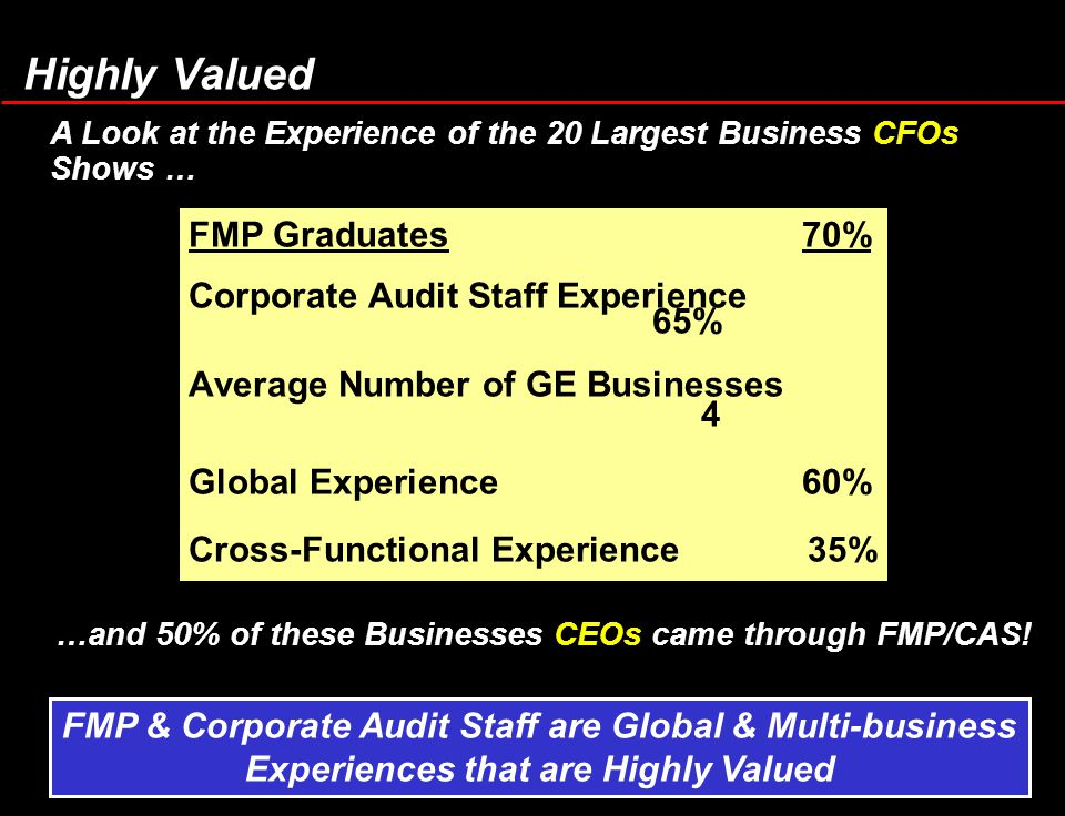 FMP Graduates 70% Corporate Audit Staff Experience 65% Average Number of GE Businesses 4 Global Experience 60% Cross-Functional Experience 35% Externa