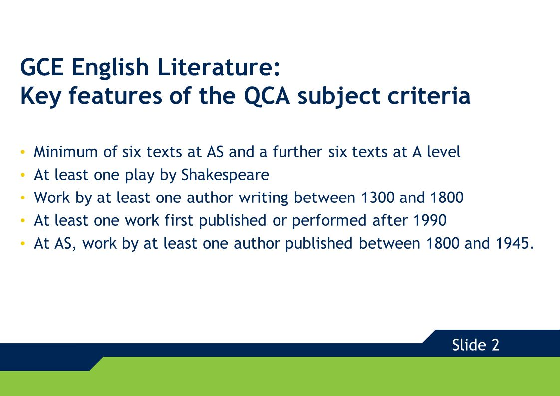 GCE 2008 GCE English Literature with Edexcel Examination texts that engage and enthuse Extensive choice of texts to appeal to a variety of teachers and students New texts to support the new requirements Familiar texts from our literary heritage for which support and resourcing is readily available Texts grouped for study in expected and fresh ways Slide 3