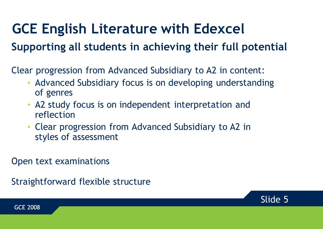 GCE English Literature with Edexcel Advanced Subsidiary Units Unit 1 Explorations in Prose and Poetry Examination 30% Unit 2 Explorations in Drama Coursework 20% Slide 6