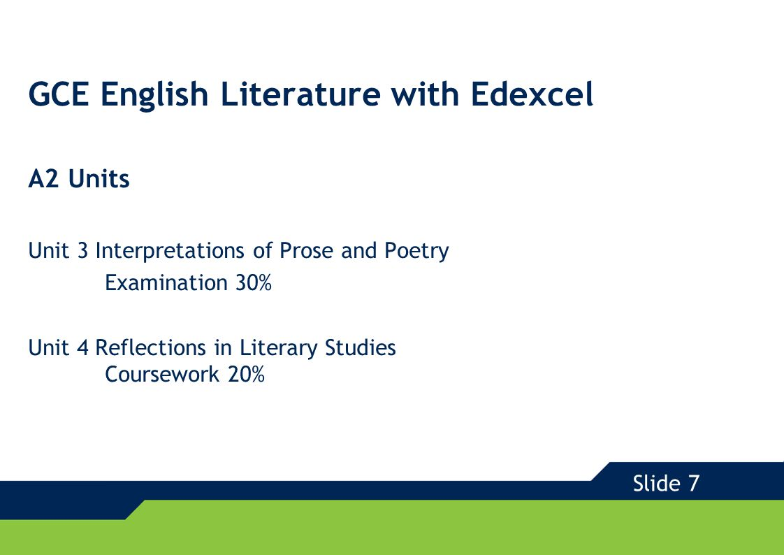 GCE English with Edexcel – Supporting You Full support for all new specifications: FREE e-Spec with your specifications and on the website Sample Assessment Materials 'Getting Started' tutor support materials Comprehensive professional training & development programme GCE 2008 Slide 8