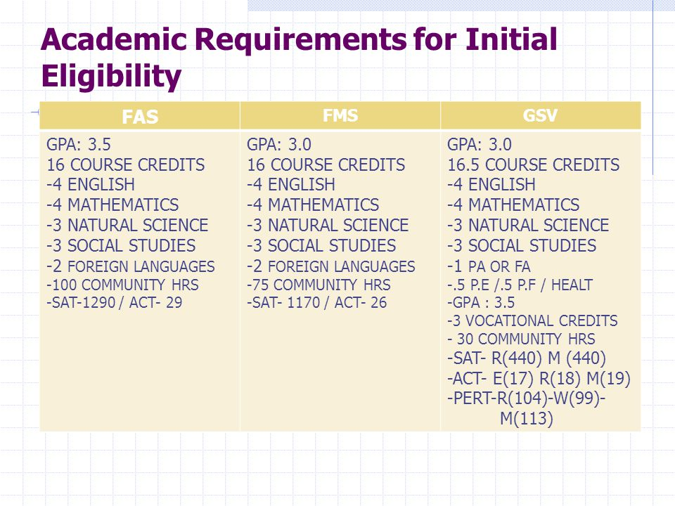 Academic Requirements for Initial Eligibility FAS FMSGSV GPA: COURSE CREDITS -4 ENGLISH -4 MATHEMATICS -3 NATURAL SCIENCE -3 SOCIAL STUDIES -2 FOREIGN LANGUAGES -100 COMMUNITY HRS -SAT-1290 / ACT- 29 GPA: COURSE CREDITS -4 ENGLISH -4 MATHEMATICS -3 NATURAL SCIENCE -3 SOCIAL STUDIES -2 FOREIGN LANGUAGES -75 COMMUNITY HRS -SAT / ACT- 26 GPA: COURSE CREDITS -4 ENGLISH -4 MATHEMATICS -3 NATURAL SCIENCE -3 SOCIAL STUDIES -1 PA OR FA -.5 P.E /.5 P.F / HEALT -GPA : VOCATIONAL CREDITS - 30 COMMUNITY HRS -SAT- R(440) M (440) -ACT- E(17) R(18) M(19) -PERT-R(104)-W(99)- M(113)