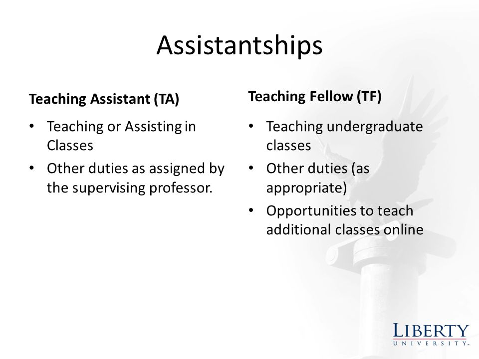 Assistantships Teaching Assistant (TA) Teaching or Assisting in Classes Other duties as assigned by the supervising professor.