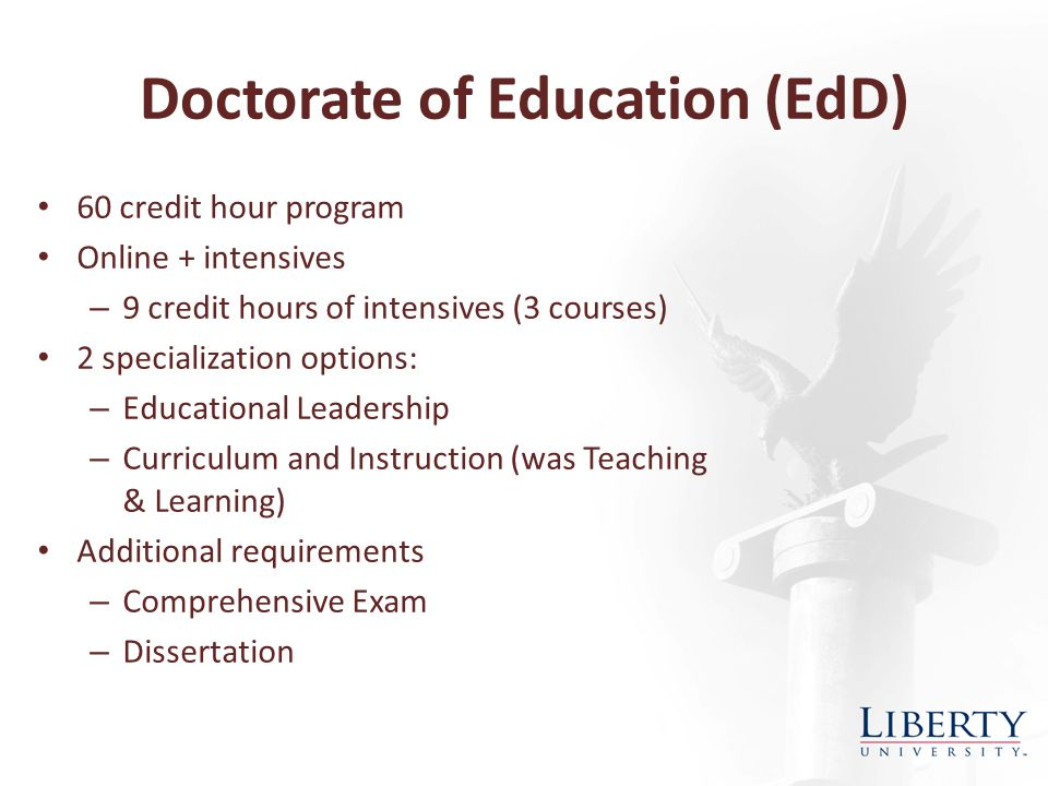 Doctorate of Education (EdD) 60 credit hour program Online + intensives – 9 credit hours of intensives (3 courses) 2 specialization options: – Educational Leadership – Curriculum and Instruction (was Teaching & Learning) Additional requirements – Comprehensive Exam – Dissertation