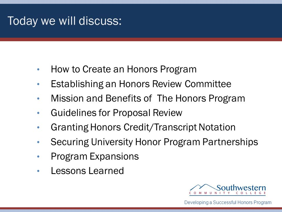 Developing a Successful Honors Program About SCC