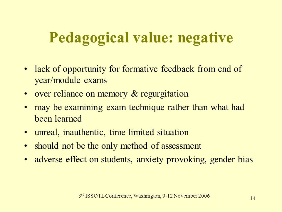 3 rd ISSOTL Conference, Washington, 9-12 November 2006 14 Pedagogical value: negative lack of opportunity for formative feedback from end of year/module exams over reliance on memory & regurgitation may be examining exam technique rather than what had been learned unreal, inauthentic, time limited situation should not be the only method of assessment adverse effect on students, anxiety provoking, gender bias