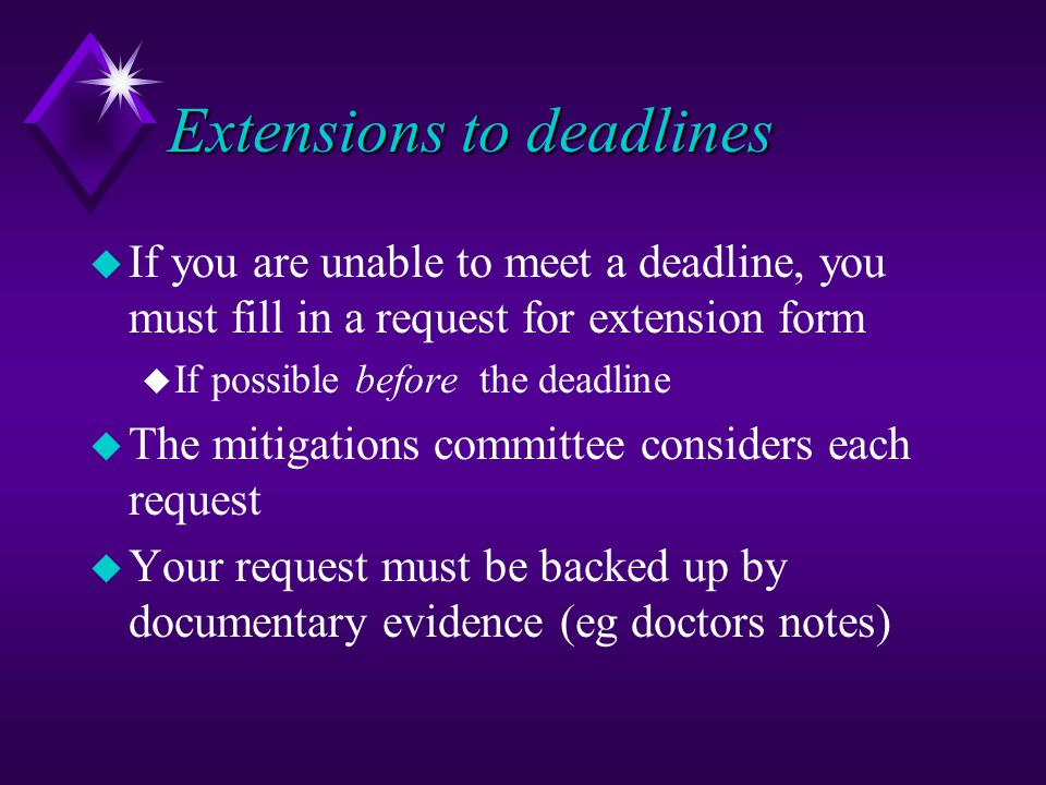 Mitigations u Mitigating circumstances are special circumstances which interfere with your studies and which may affect your performance u Illness u Family/personal problems u You must make these known to either your personal tutor or the welfare tutor (Dr.