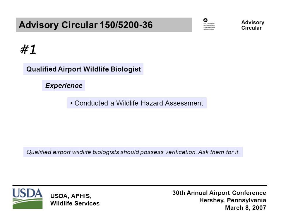 30th Annual Airport Conference Hershey, Pennsylvania March 8, 2007 USDA, APHIS, Wildlife Services Qualified Airport Wildlife Biologist Experience Advisory Circular 150/5200-36 Conducted a Wildlife Hazard Assessment Qualified airport wildlife biologists should possess verification.