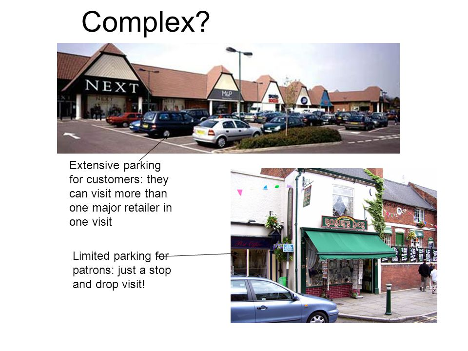 Complex? Extensive parking for customers: they can visit more than one major retailer in one visit Limited parking for patrons: just a stop and drop v