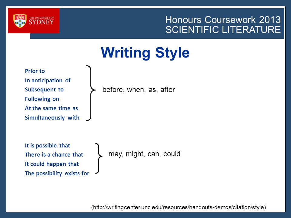 Honours Coursework 2011 SCIENTIFIC LITERATURE Honours Coursework 2013 SCIENTIFIC LITERATURE Prior to In anticipation of Subsequent to Following on At the same time as Simultaneously with It is possible that There is a chance that It could happen that The possibility exists for Writing Style (http://writingcenter.unc.edu/resources/handouts-demos/citation/style) before, when, as, after may, might, can, could