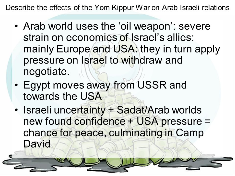 Describe the effects of the Yom Kippur War on Arab Israeli relations Arab world uses the 'oil weapon': severe strain on economies of Israel's allies: